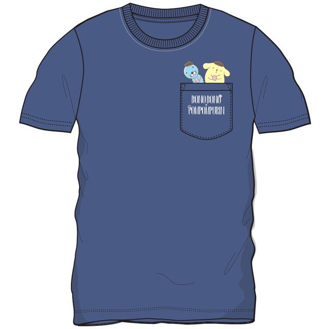 プリンxぼのぼの ポケット付半袖Tシャツ(Lネイビー)
