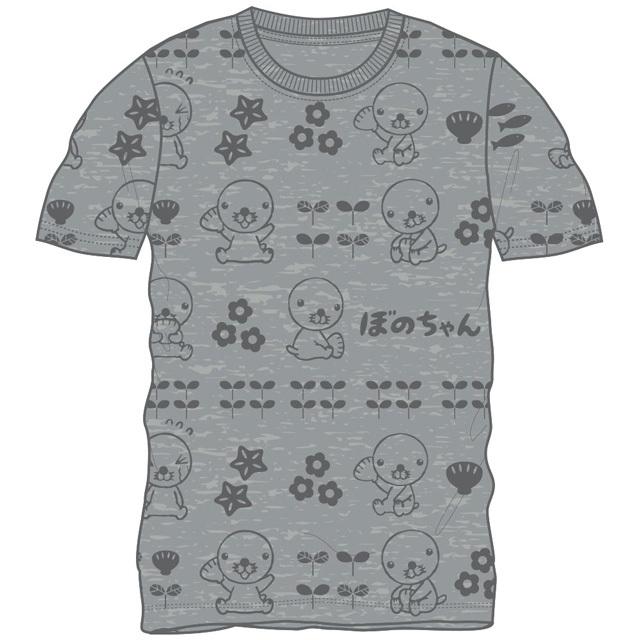 ぼのちゃん 総柄半袖Tシャツ(杢グレー)