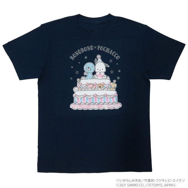 BONOBONO×POCHACCO Tシャツ ケーキ/NV