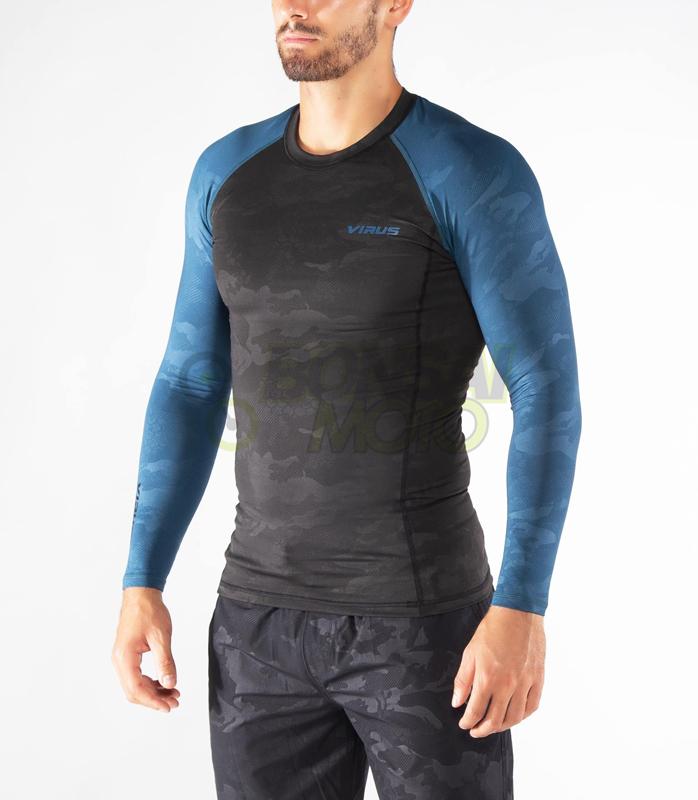 ロングスリーブ コンプレッション(SiO2) VIRUS メンズ Stay Warm 暖速乾 ブルーカモ