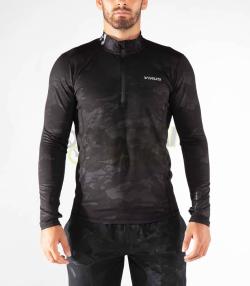 ハーフジップ ファンクショナル ロングスリーブ フィンガーホール付 VIRUS メンズ Stay Warm (SiO21) 暖速乾 ブラックカモ