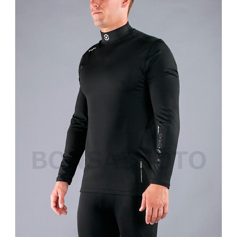 VMOTO ファンクショナル ロングスリーブ モックネック(SiO12)VIRUS メンズ Stay Warm 暖速乾 ブラック