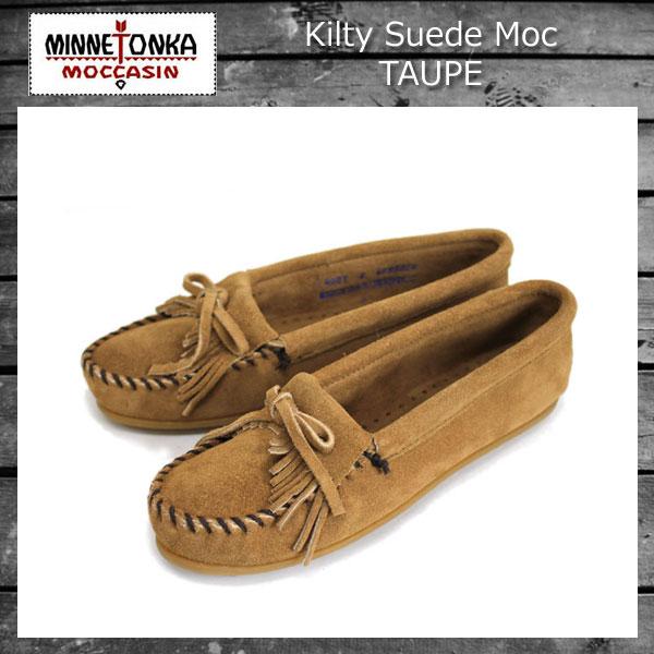 正規取扱店 MINNETONKA(ミネトンカ) Kilty Suede Moc(キルティスウェードモック) #407T TAUPE レディース MT009