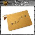 正規取扱店 HTC CLUTCH BAG(クラッチバッグ) #24 L.BROWN(フラワースタッズ ライトブラウンレザー)