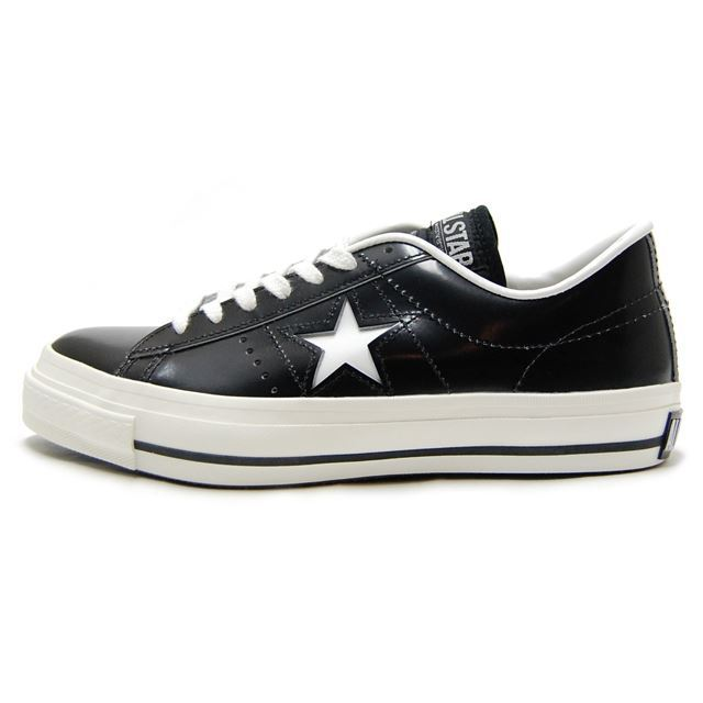 コンバース CONVERSE メンズ レディース スニーカー ONE STAR J ワンスターJ BLACK WHITE ブラック ホワイト [ローカット レザー 日本製 限定 MADE IN JAPAN]