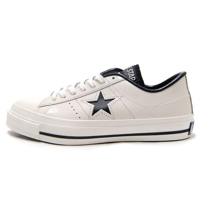 CONVERSE コンバース メンズ レディース スニーカー ONE STAR J ワンスターJ WHITE/BLACK ホワイト/ブラック [ローカット/レザー/日本製/限定/MADE IN JAPAN/国内正規販売店/Authorized Dealer]