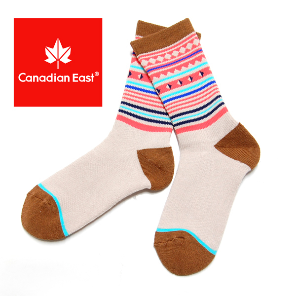 Canadian East カナディアンイースト アウトドアハイ ソックス レディース 登山 靴下 22-24cm CEA1033 BEG ベージュ