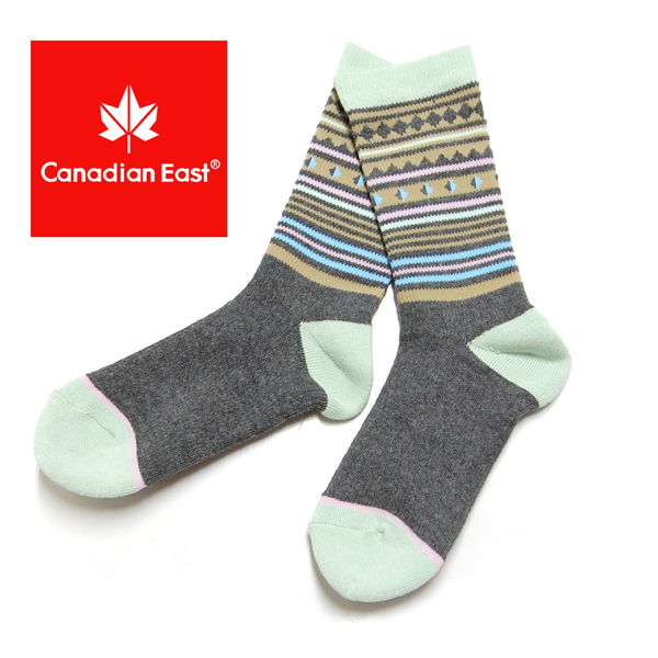 Canadian East カナディアンイースト アウトドアハイ ソックス レディース 登山 靴下 22-24cm CEA1033 GRY グレー