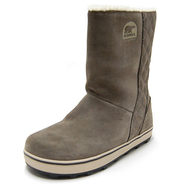 SOREL ソレル レディース スノーブーツ GLACY グレイシー SADDLE/FOSSIL NL1975-269 [ボア/スエード/防寒/防水/梨花/ラバー/雪/長靴]