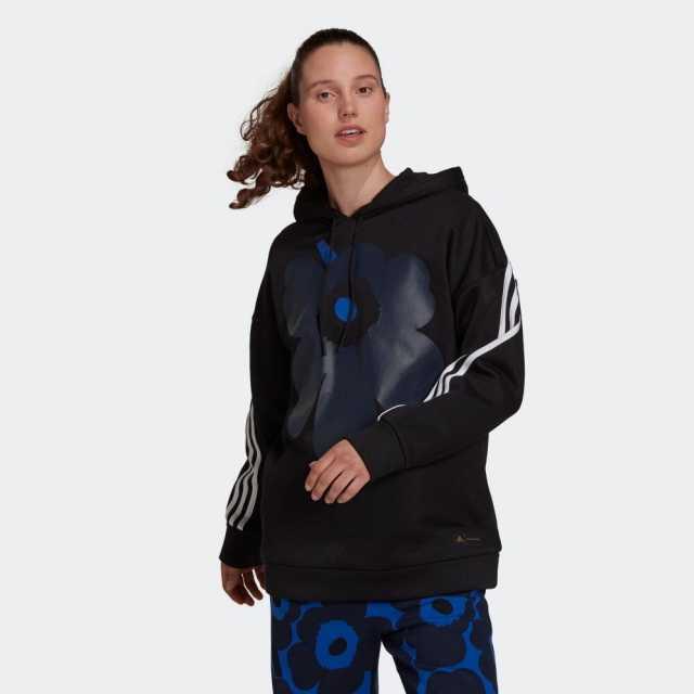 アディダス マリメッコ フリース フーデッドスウェットシャツ adidas Marimekko ブラック レディース スウェット H39738
