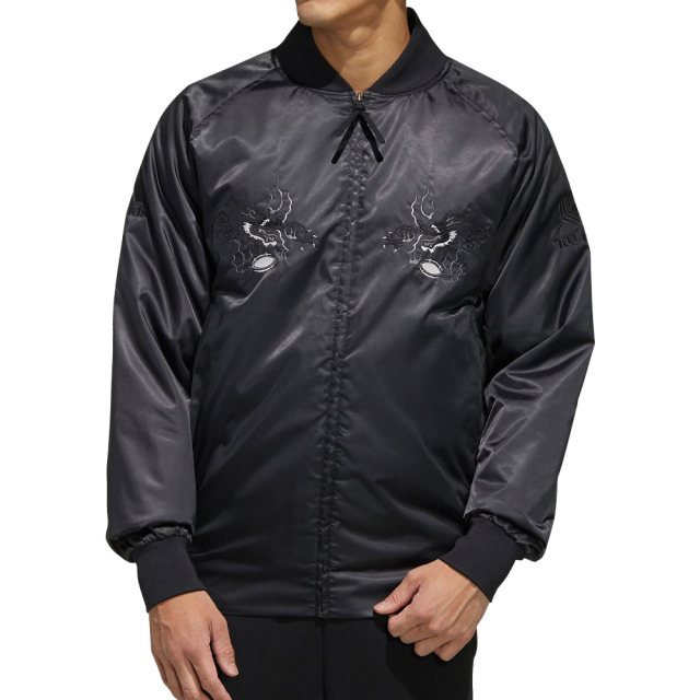 アディダス オールブラックス adidas ALLBLACKS 日本限定 スカジャン メンズ ラグビー ニュージーランド代表 公式 ウェア アウター ジャケット BLACK FYO13-ED0972