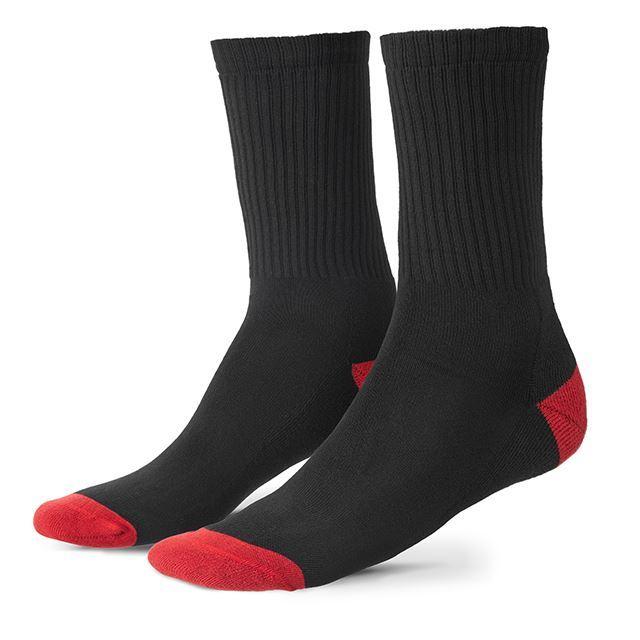 クローム コットンクルーソックス CHROME COTTON CREW SOCKS BLACKBLACK/POPPY ソックス 靴下、コットン、天然素材 AC196BKPY