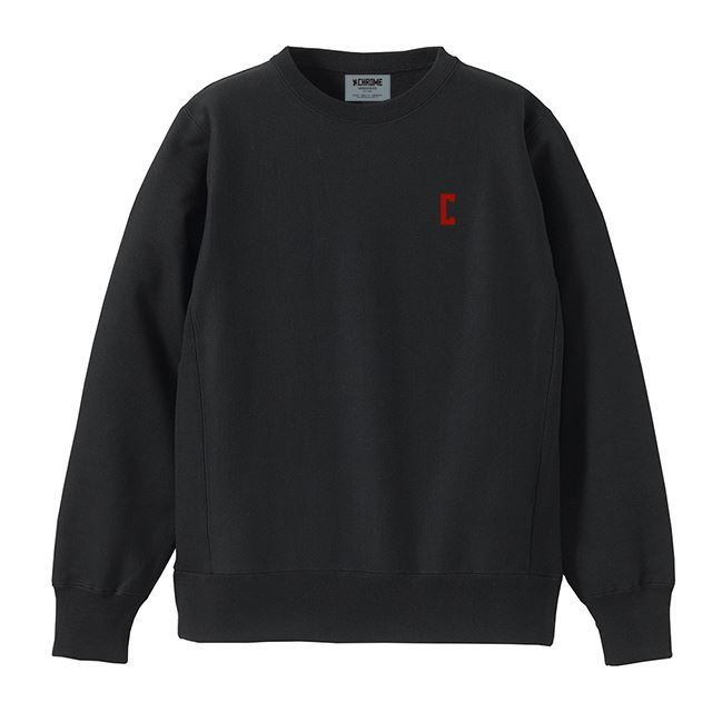 【30%OFF SALE】 クローム C-LOGOスウェットクルー CHROME C-LOGO SWEAT CREW BLACK/RED JP083BKRD