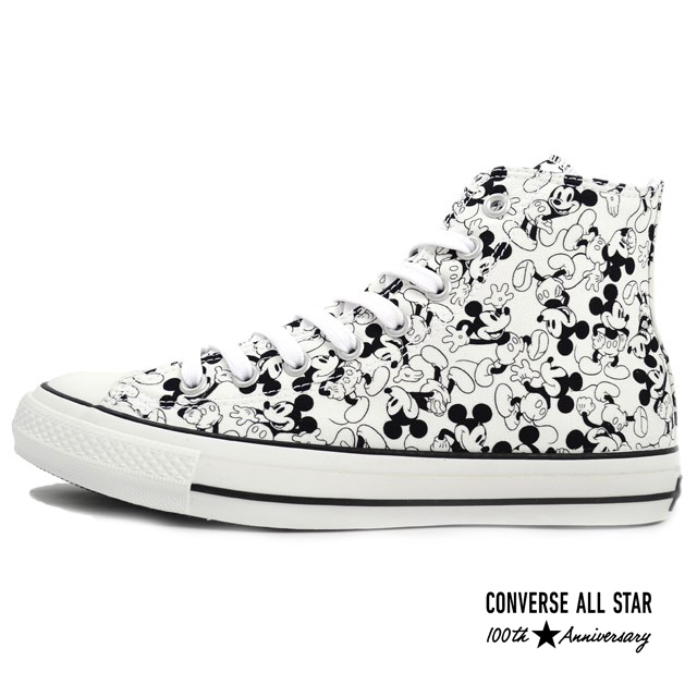 CONVERSE コンバース メンズ レディース スニーカー ALL STAR 100 MICKEY MOUSE PT HI オールスター 100 ミッキーマウス PT HI モノ [取扱店舗限定/LIMITED EDITION/100周年記念モデル/アニバーサリーイヤーモデル/ハイカット/国内正規販売店/Authorized Dealer]