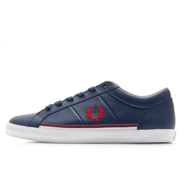 【SALE】 フレッドペリー FREDPERRY BASELINE PERFORATED LEATHER CARBON BLUE メンズ スニーカー B7114-C88