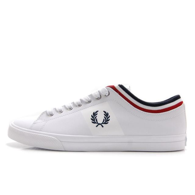 【SALE】 フレッドペリー FREDPERRY UNDERSPIN TIPPED CUFF LEATHER WHITE メンズ スニーカー B8185-100