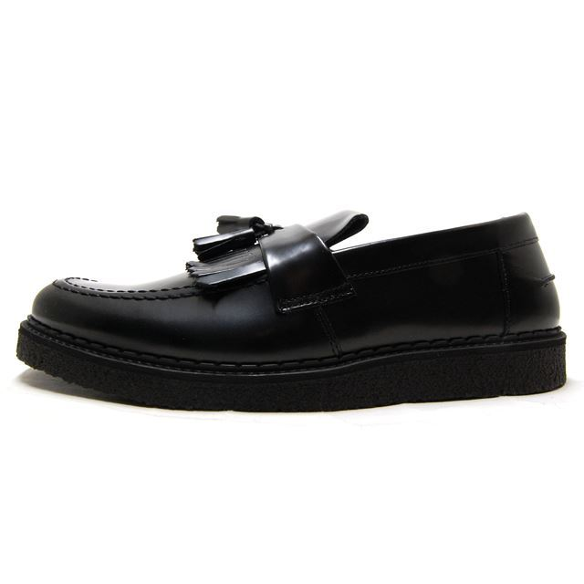 FRED PERRY フレッドペリー メンズ レディース スニーカー FRED PERRY X GEORGE COX TASSEL LOAFER LEATHER BLACK ブラック B8278-102 [黒/レザー/革靴/ローファー/タッセル/コラボ/ジョージコックス/小泉今日子/着用/SWITCH表紙/国内正規販売店/Authorized Dealer]