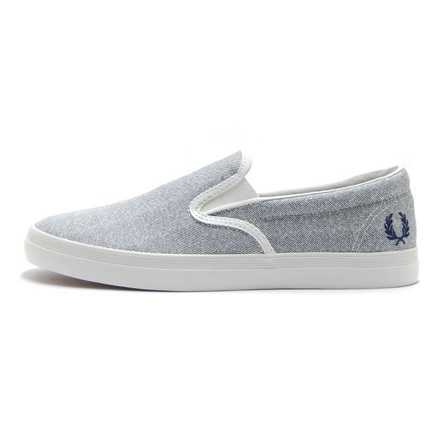フレッドペリー FREDPERRY スニーカー メンズ Underspin Slip-On Printed Canvas PORCELAIN グレー B3149-254