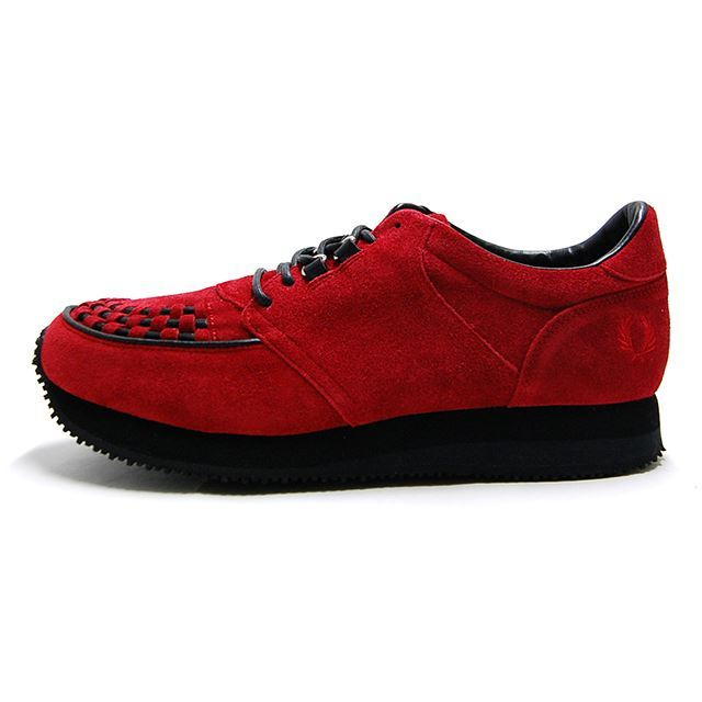 【30%OFF SALE】 フレッドペリー FREDPERRY スニーカー メンズ Running Rubbersole Suede RED  ブラック F29623-08