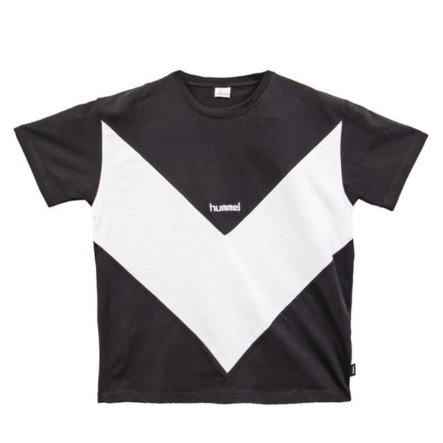ヒュンメル × ジャジースポート バイカラー 切替TS Tシャツ hummel × JAZZY SPORT Bi-color T-Shirts BLACK メンズ Tシャツ コラボレーション HST20018JSS-SN90