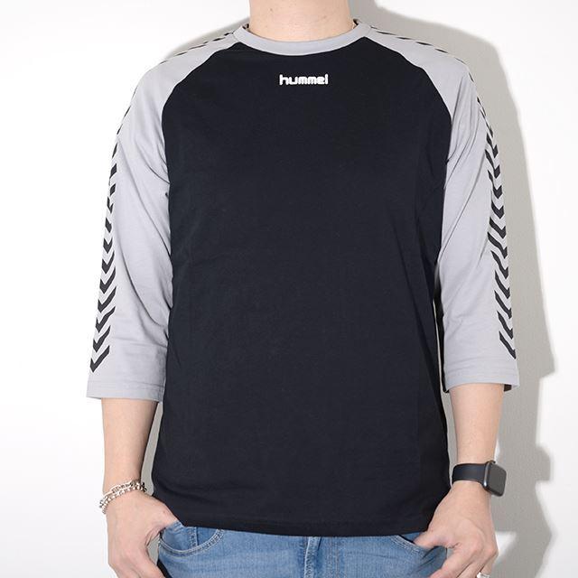 ヒュンメル ハイブ HUMMEL HIVE メンズ 7分丈 ラグランTシャツ HMLANDREAS T-SHIRT 3/4 BLACK HM203708-2001