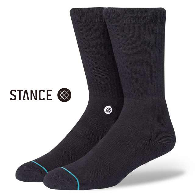 スタンス ソックス STANCE SOCKS メンズ 無地 1ポイント 靴下 くつ下 ハイソックス ICON BLACK / WHITE M311D14ICO-BLW / Lサイズ(25.5-29cm)
