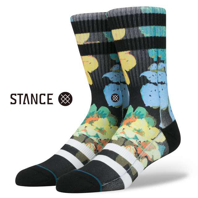 スタンス ソックス STANCE SOCKS メンズ 花 フラワー 柄物 靴下 くつ下 ハイソックス CORSAGE BLACK M556D16COR-BLK / Lサイズ(25.5-29cm)