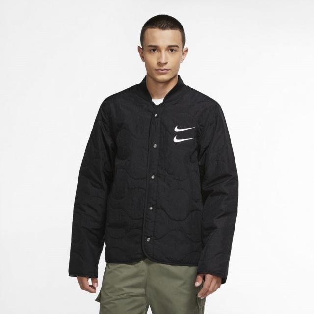 ナイキ スウッシュ キルテッド ジャケット NIKE ブラック/ホワイト メンズ ジャケット CU3923-010