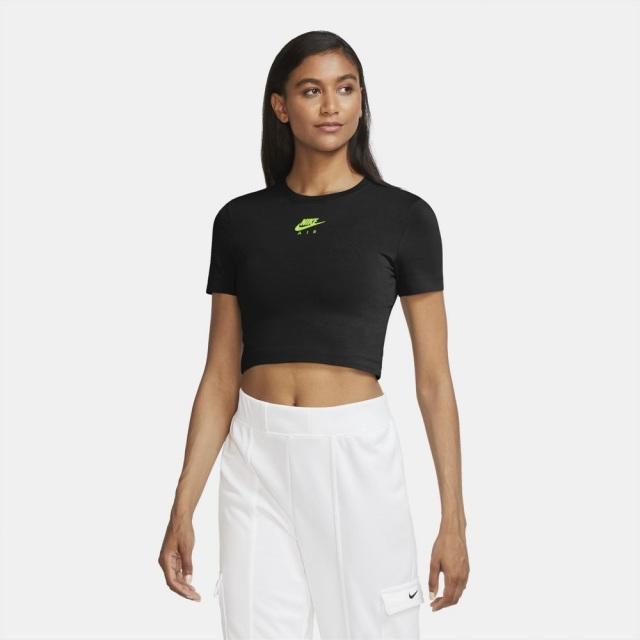 【SALE】 ナイキ エア クロップトップ NIKE ブラック/ボルト レディース Tシャツ CU5563-011