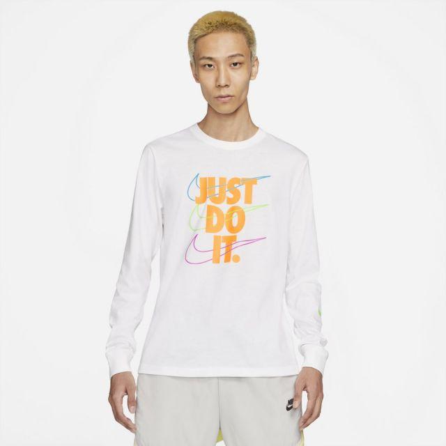 【SALE】ナイキ ロングスリーブ Tシャツ NIKE ホワイト/レーザーオレンジ メンズ Tシャツ DB6189-100