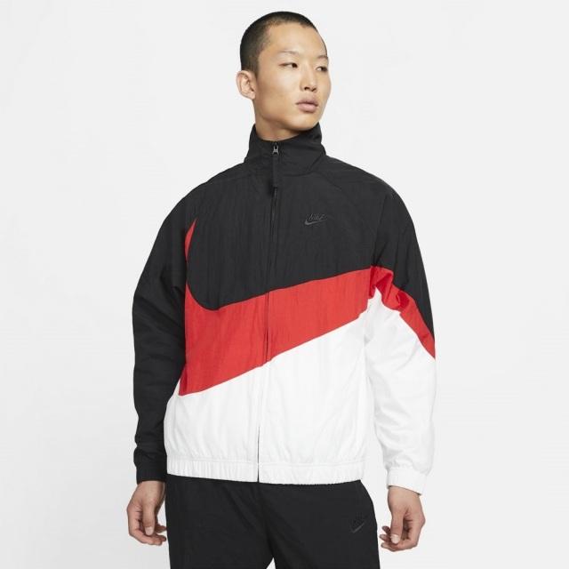 【SALE】ナイキ ウーブン ジャケット NIKE ブラック/ユニバーシティレッド/ホワイト/ブラック メンズ ジャケット ビッグスウォッシュ AR3133-011