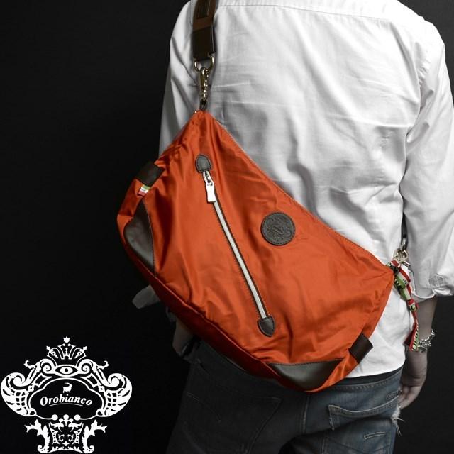 Orobianco オロビアンコ バッグ SILVESTRA DOUBLE アランチョ/マロン [オレンジ/ナイロン/レザー/イタリア製/ビジネス/ショルダーバッグ]
