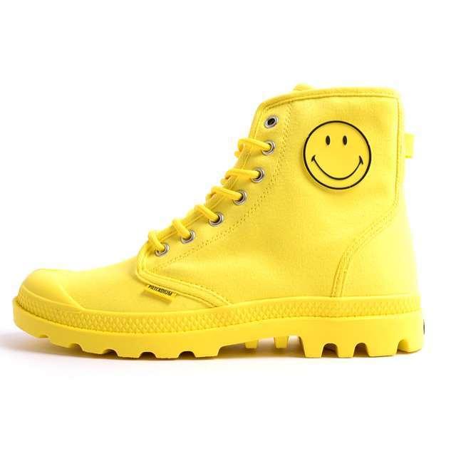 PALLADIUM パラディウム メンズ レディース スニーカー ブーツ コラボモデル スマイリー Pampa Fest Bag Smiley パンパ フェストバッグ Yellow Smiley イエロースマイリー 75581-741 [限定モデル/LIMITED/リミテッドモデル]