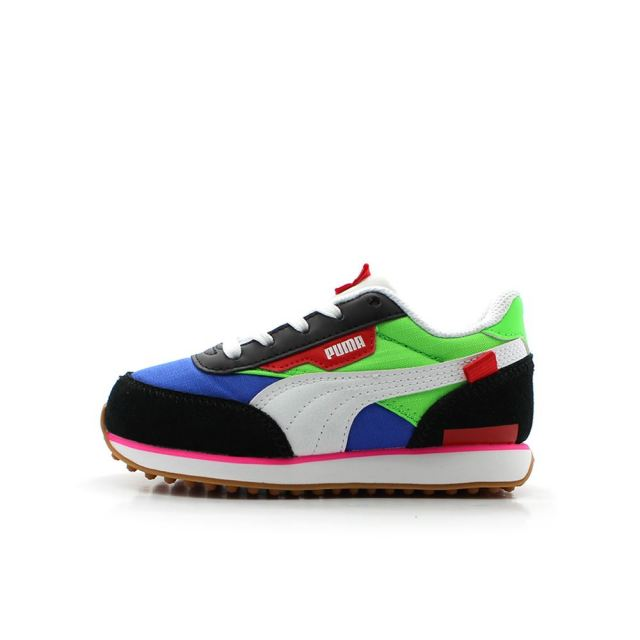 【SALE】 プーマ ライダープレイオン PS PUMA RIDER PLAY ON PS PUMA B / FLUO GREEN / DAZZLING BLUE キッズ スニーカー 372351-01
