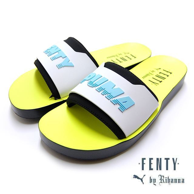 PUMA FENTY BY RIHANNA FENTY SURF SLIDE Wns Puma Black-White-Yellow 367747-02