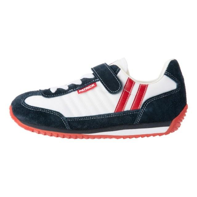 PATRICK パトリック キッズ スニーカー MARATHON-V マラソン・ベルクロ W/N ホワイト/ネイビー EN7700J [子供靴/ジュニア/男の子/女の子/白/ナイロン/ベロア/お揃い/国内正規販売店/Authorized Dealer]