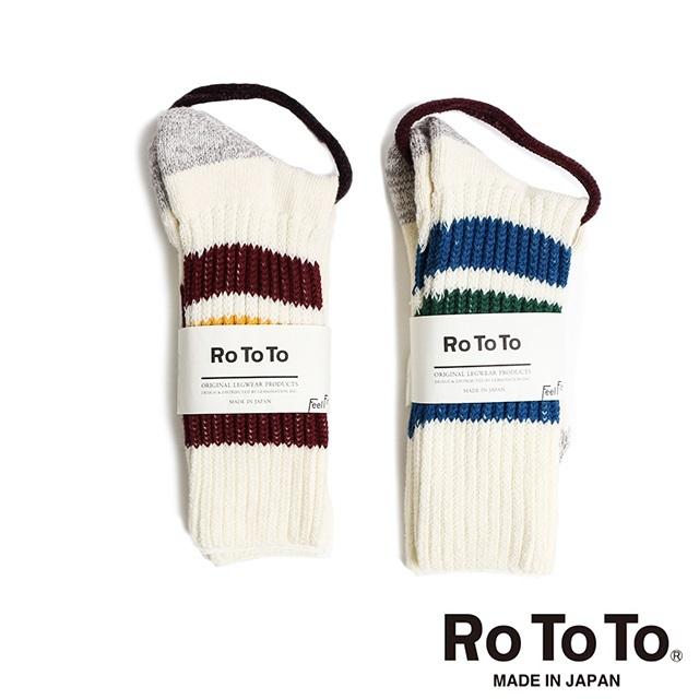 ROTOTO ロトト メンズ レディース ソックス COARSE RIB PILE SOCKS リブ パイル ライン ソックス R1004 [ボーダー/靴下/カジュアル/日本製/メイドインジャパン/MADE IN JAPAN/ラインソックス/国内正規販売店/Authorized Dealer]