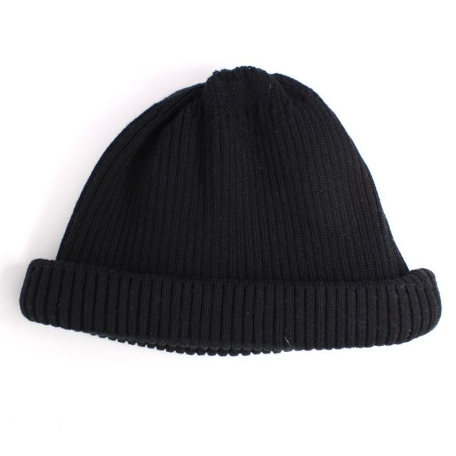 ロトト ROTOTO COTTON ROLL UP BEANIE BLACK ロールアップビーニー R5021-BLACK
