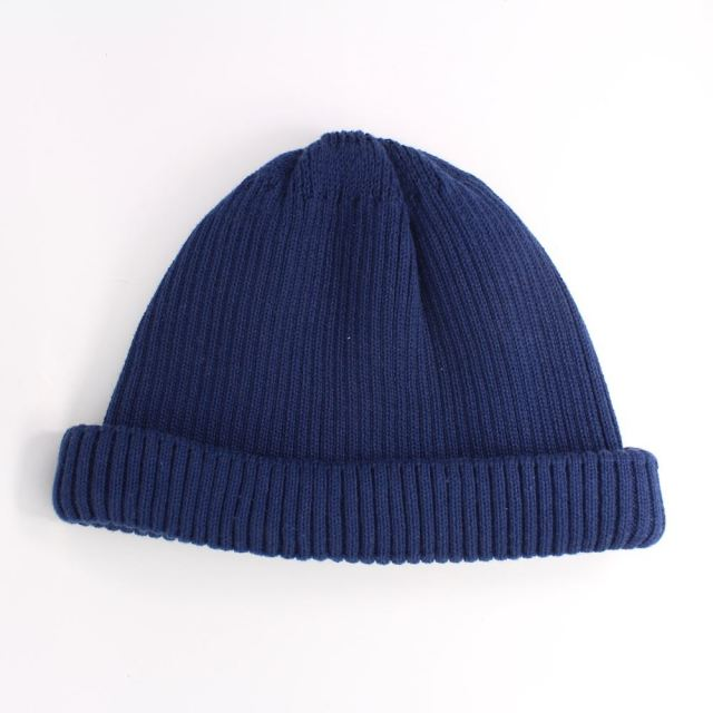 ロトト ROTOTO COTTON ROLL UP BEANIE NAVY ロールアップビーニー R5021-NAVY