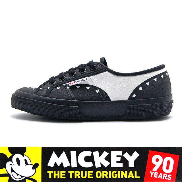スペルガ SUPERGA スニーカー レディース MICKY MOUSE ミッキーマウス Disney Collection ディズニーコレクション CARTOON 2750 TWENTIES COTU White-Black S00ETK0-902