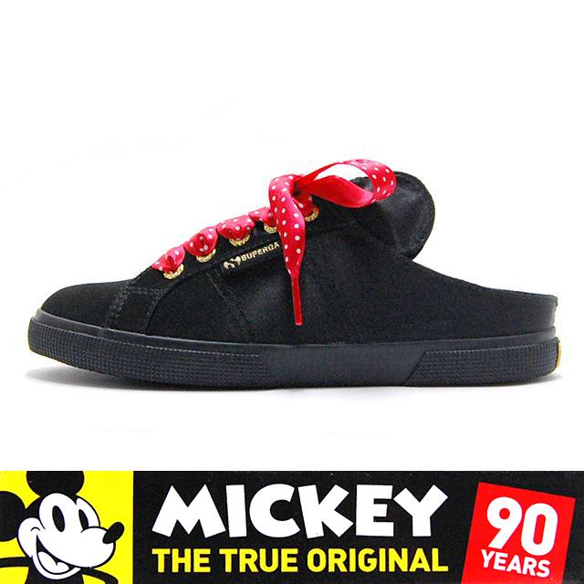 スペルガ SUPERGA スニーカー レディース Minnie Mouse ミニー マウス Disney Collection ディズニーコレクション CARTOON 2288 SATINFURW Black S00ETR0-005