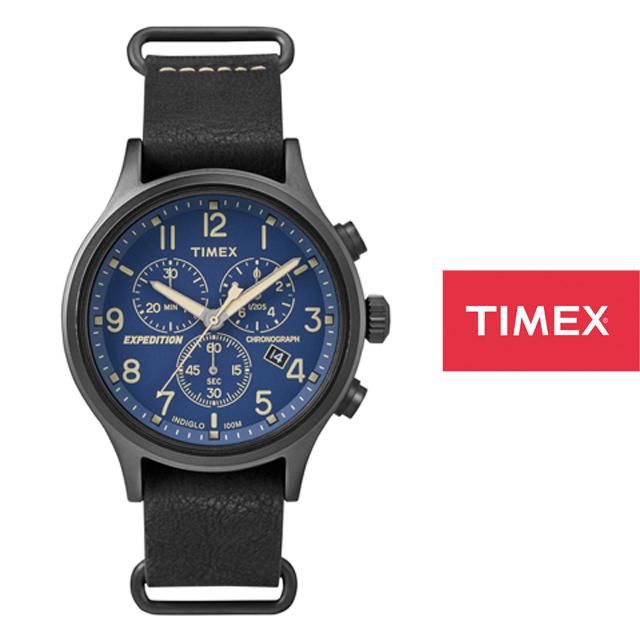 TIMEX タイメックス メンズ レディース 腕時計 エクスペディション スカウトメタルクロノ TW4B04200 [ブラック/黒/革ベルト/レザーベルト]
