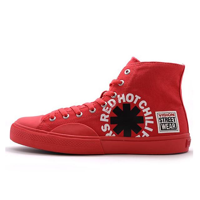 ビジョンストリートウェア キャンバス ハイ レッドホットチリペッパーズ VISION STREET WEAR Canvas HI RHCP Red メンズ スニーカー 【Red Hot Chili Peppers RHCP レッドホットチリペッパーズ レッチリ コラボ】  VSW9157-RED