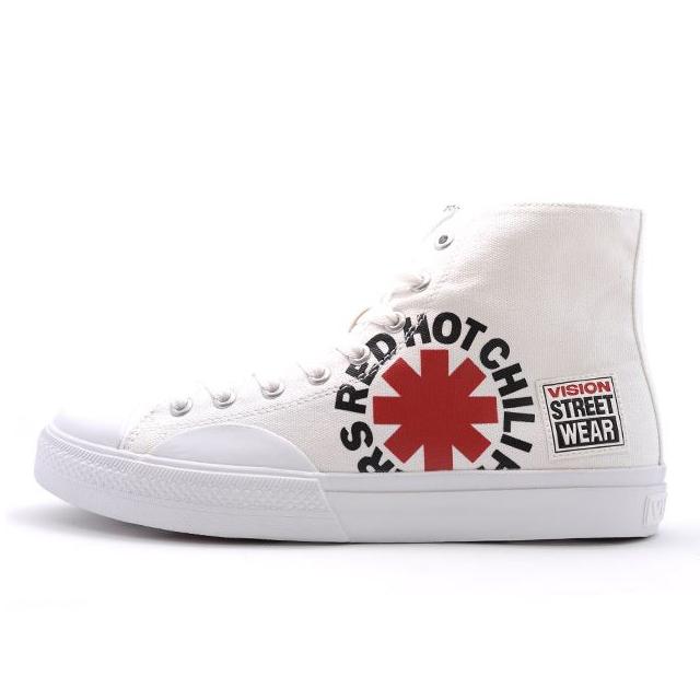 ビジョンストリートウェア キャンバス ハイ レッドホットチリペッパーズ VISION STREET WEAR Canvas HI RHCP White メンズ スニーカー 【Red Hot Chili Peppers RHCP レッドホットチリペッパーズ レッチリ コラボ】  VSW9157-WHT