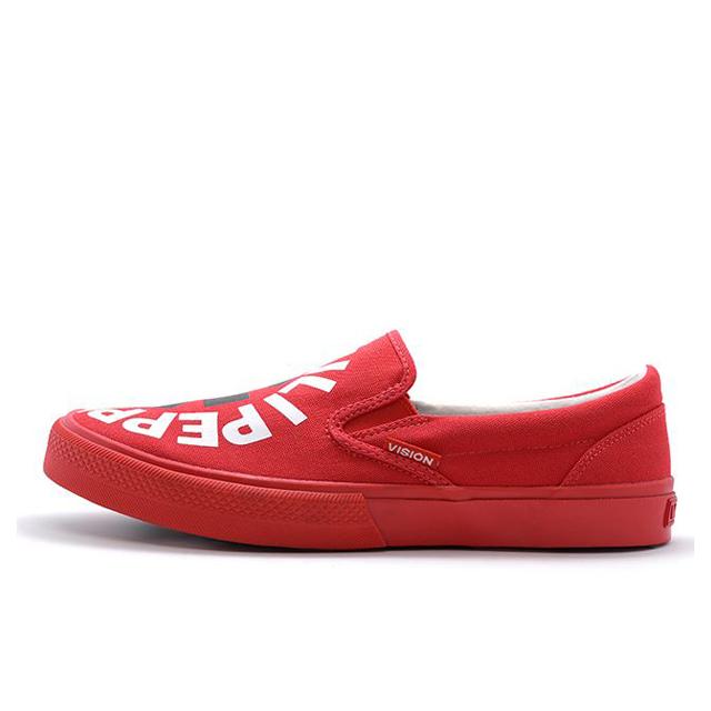 ビジョンストリートウェア キャンバス スリッポン レッドホットチリペッパーズ VISION STREET WEAR Canvas SLIP-ON RHCP Red メンズ スリッポン 【Red Hot Chili Peppers RHCP レッドホットチリペッパーズ レッチリ コラボ】  VSW9158-RED