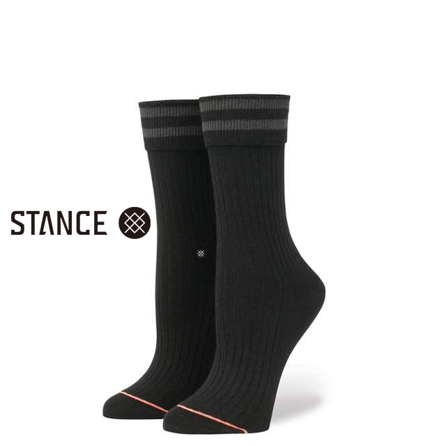 スタンス ソックス STANCE SOCKS レディース ボーダー柄 靴下 くつ下 ハイソックス UNCOMMON ANKLET BLACK W425A17UCS-BLK / Sサイズ(22.0-25.0cm)