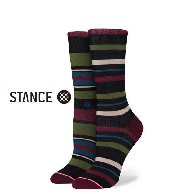 スタンス ソックス STANCE SOCKS レディース ボーダー柄 靴下 くつ下 ハイソックス LATITUDE CREW BLACK W515C17LAT-BLK / Sサイズ(22.0-25.0cm)