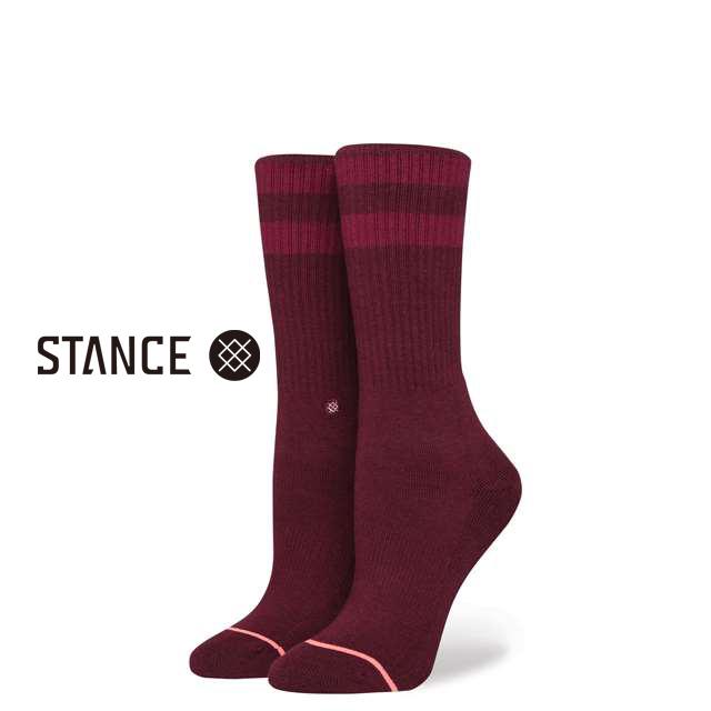スタンス ソックス STANCE SOCKS レディース ボーダー柄 靴下 くつ下 ハイソックス UNCOMMON CLASSIC CREW WINE W556A17UCC-WIN / Sサイズ(22.0-25.0cm)