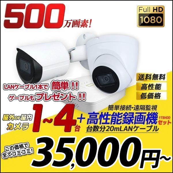 防犯カメラ 家庭用 録画機セット 防犯カメラセット 遠隔監視 500万画素 カメラ1~4台 HDD1TB込 屋外 屋内 PoE 給電 電源不要 4chレコーダー 500IP-SET-4CH 送料無料