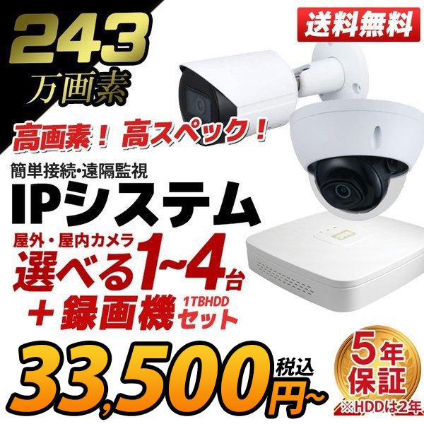 防犯カメラ 家庭用 録画機セット 防犯カメラセット 遠隔監視 243万画素 カメラ1~4台 HDD1TB込 PoE 給電 電源不要 屋外 屋内 IP-SET-4CH 送料無料